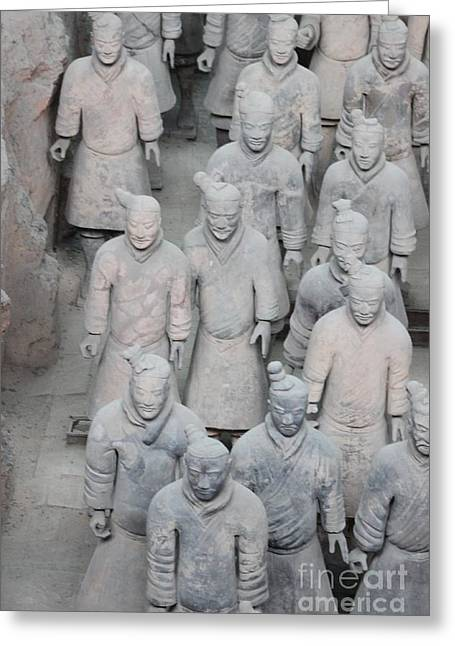 Xian Greeting Cards - Terra Cotta Warriors Detail Greeting Card by Thomas Marchessault