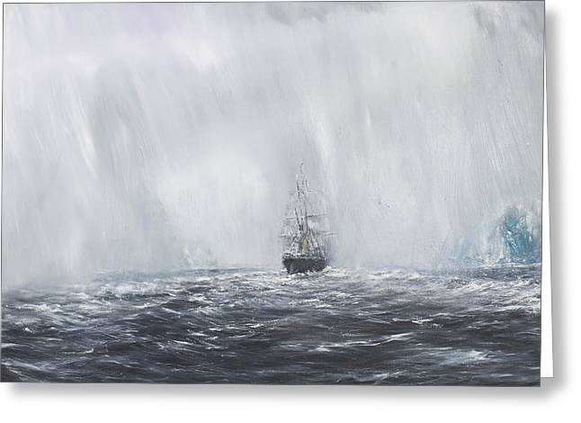 Steam Ship Greeting Cards - Terra Nova Greeting Card by Vincent Alexander Booth