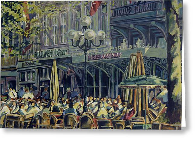 Nederland Paintings Greeting Cards - Terrace at the Vrijthof in Maastricht Greeting Card by Nop Briex
