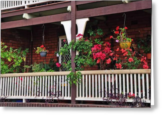 Edwardian Greeting Cards - Terrace House with Flowers 2 Greeting Card by Kaye Menner