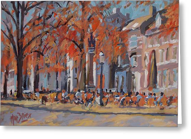 Terrace In The Grand Tanners Street Maastricht Greeting Card by Nop Briex