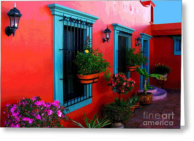 Gypsy Greeting Cards - Terrace Windows at Casa de Leyendas by Darian Day Greeting Card by Olden Mexico