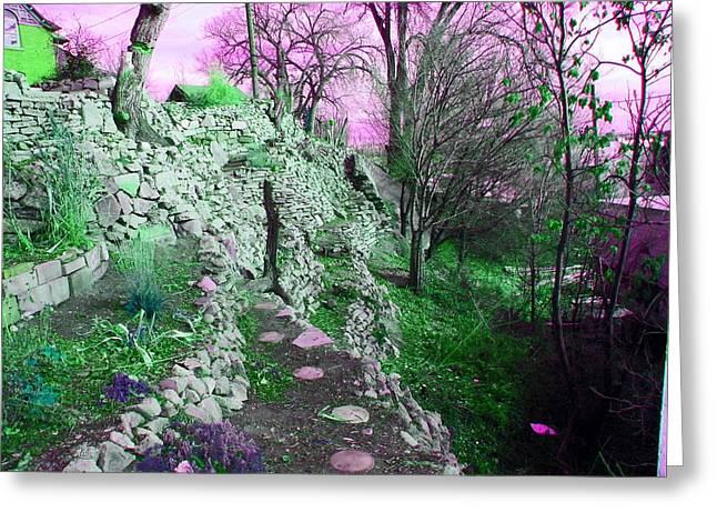 Fantasy World Greeting Cards - Terraced Garden Fantasy Greeting Card by Lenore Senior