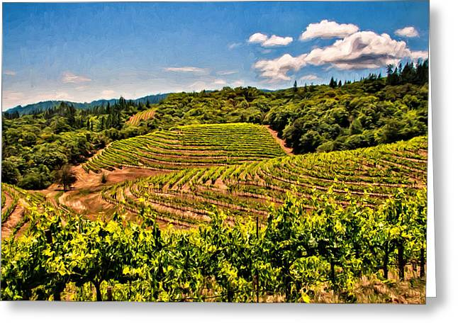 Sauvignon Digital Art Greeting Cards - Terraced Vineyards Greeting Card by John K Woodruff