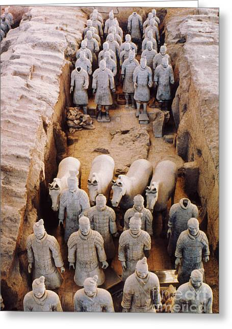Historic Statue Greeting Cards - Terracotta Army Greeting Card by Heiko Koehrer-Wagner