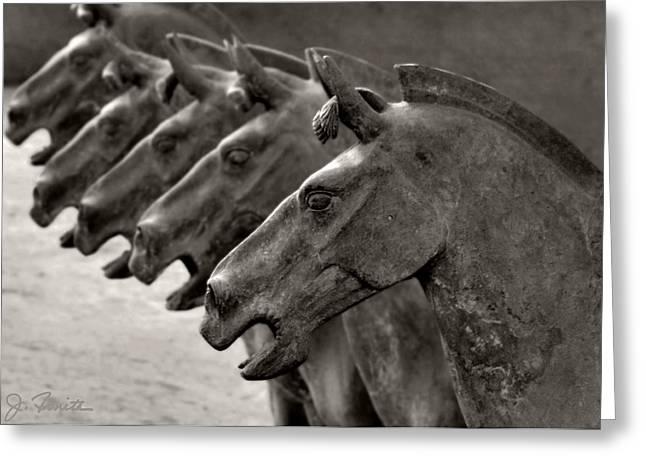 Xian Greeting Cards - Terracotta Horses Greeting Card by Joe Bonita