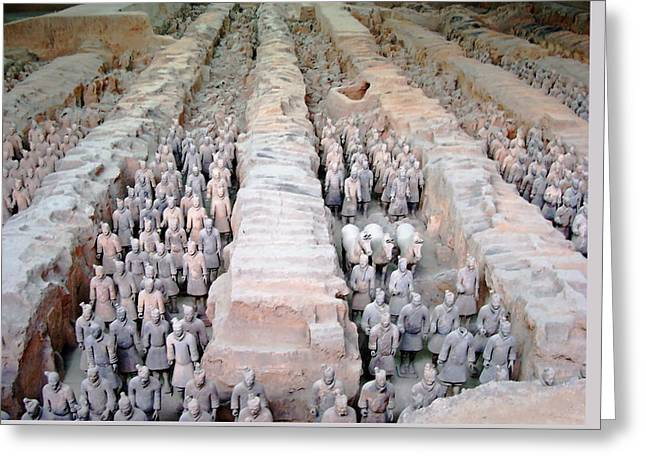 Lintong Greeting Cards - Terracotta Warriors And Horses Greeting Card by Debbie Oppermann