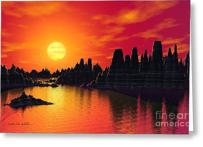 System Paintings Greeting Cards - Terrestrial Planet at 55 Cancri Greeting Card by Lynette Cook