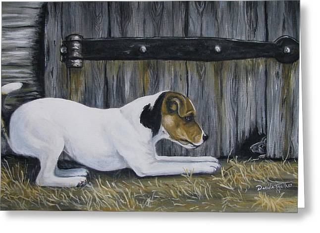 Puppies Paintings Greeting Cards - Terrier Greeting Card by Daniele Trottier