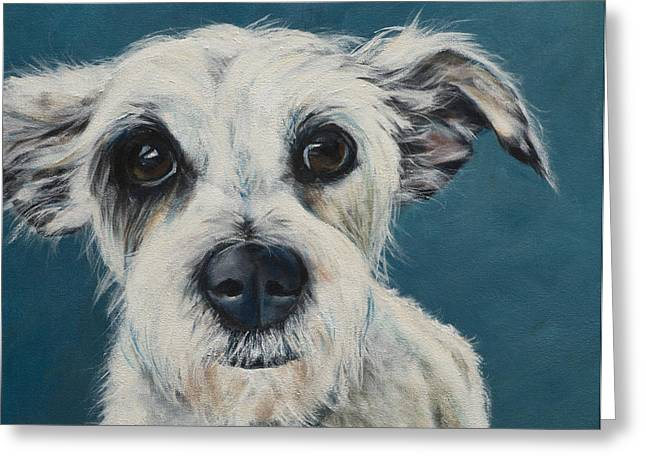 Puppies Paintings Greeting Cards - Terrier Greeting Card by Julie Dalton Gourgues