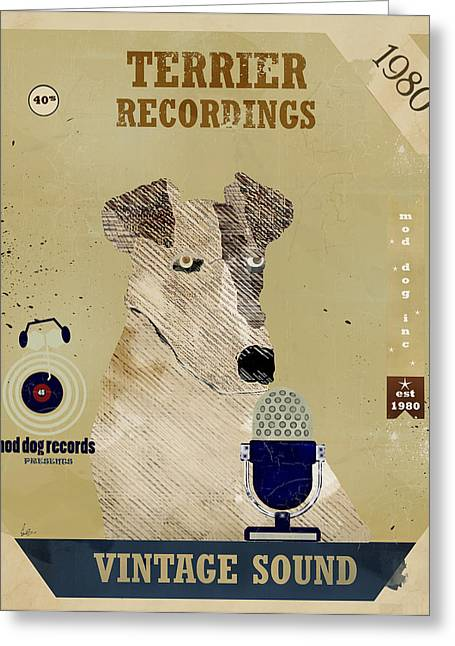 Terrier Digital Greeting Cards - Terrier Records Greeting Card by Bri Buckley