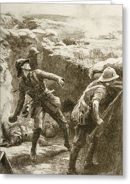 Bravery Greeting Cards - Territorial Heroism On The Krithia Greeting Card by Ken Welsh