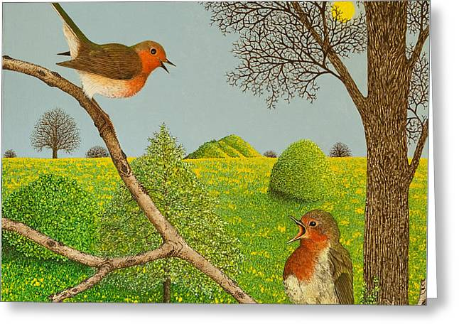 Robin Greeting Cards - Territorial rights Greeting Card by Pat Scott