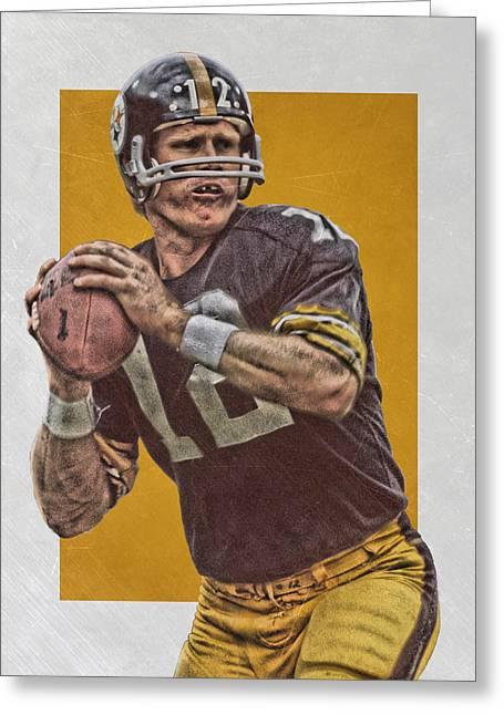 Terry Bradshaw Pittsburgh Steelers Art Greeting Card by Joe Hamilton