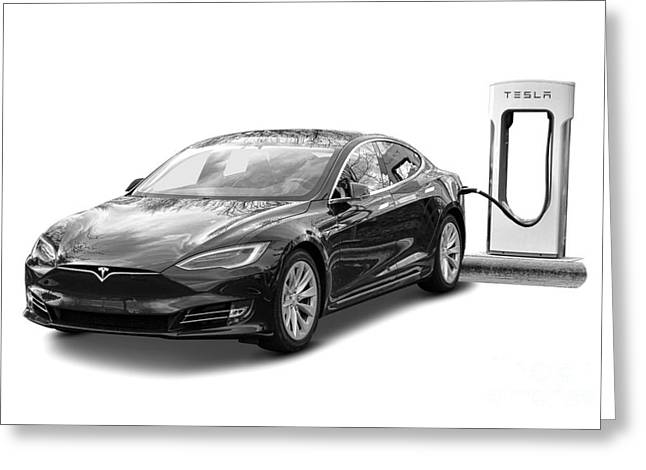 Tesla Charging Greeting Card by Olivier Le Queinec