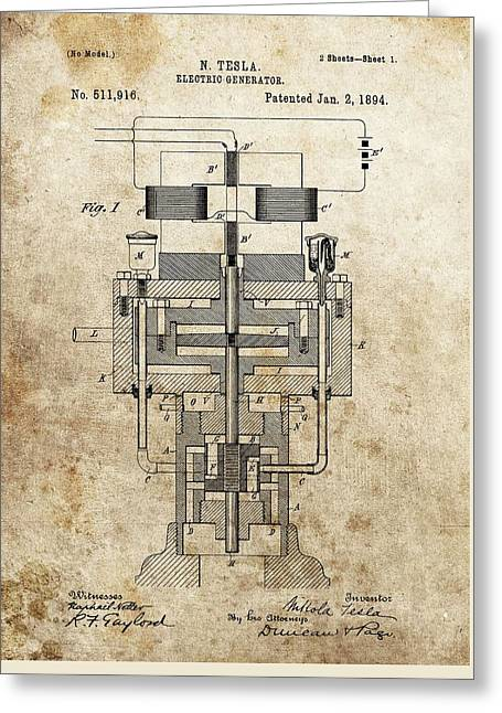 Electrical Mixed Media Greeting Cards - Tesla Generator Patent Greeting Card by Dan Sproul