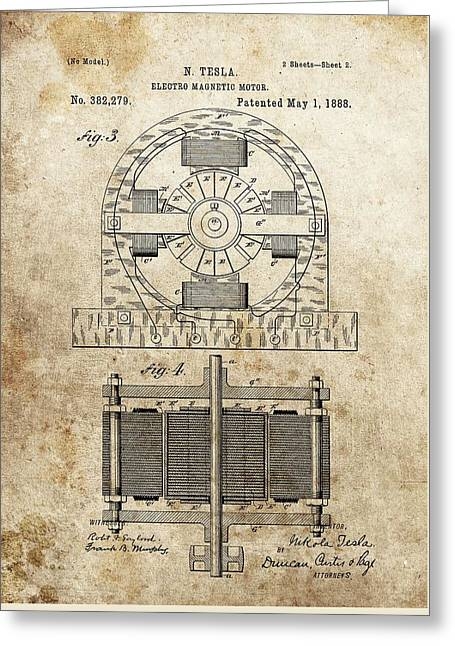 Electrical Mixed Media Greeting Cards - Tesla Magnetic Motor Patent Greeting Card by Dan Sproul