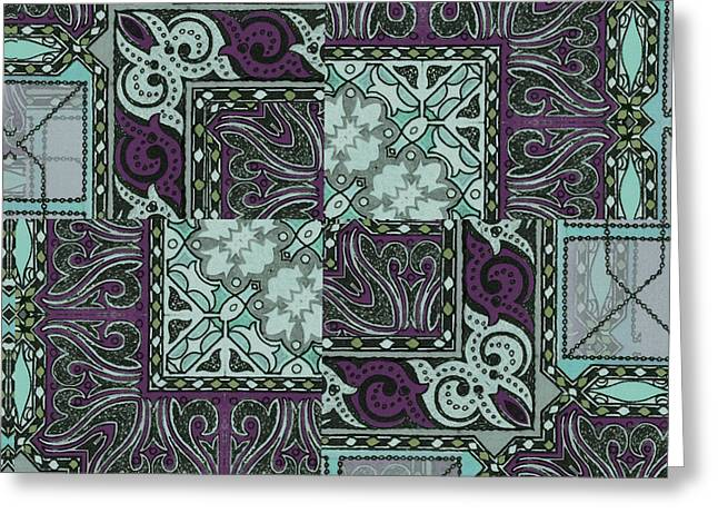Geometric Art Greeting Cards - Tessa Art Nouveau Pattern Greeting Card by Mindy Sommers