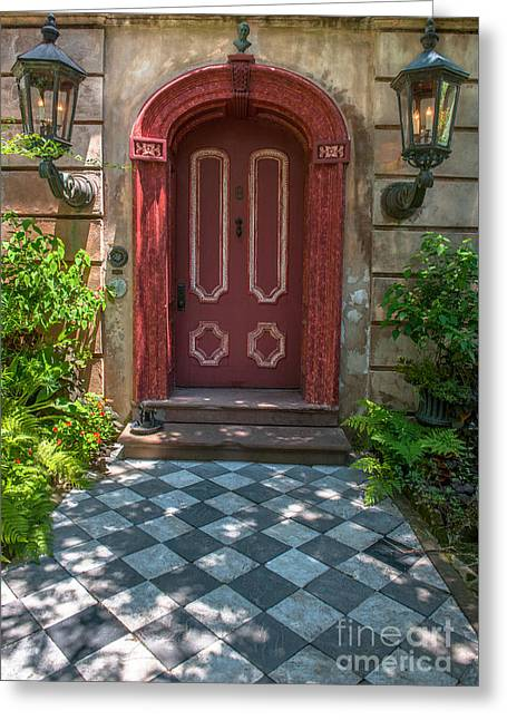 Recently Sold -  - Entrance Door Greeting Cards - Grand Red Door Entrance Greeting Card by Dale Powell