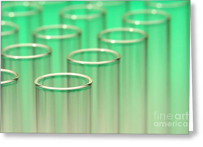 Test Tube Greeting Cards - Test Tubes in Science Lab Greeting Card by Olivier Le Queinec