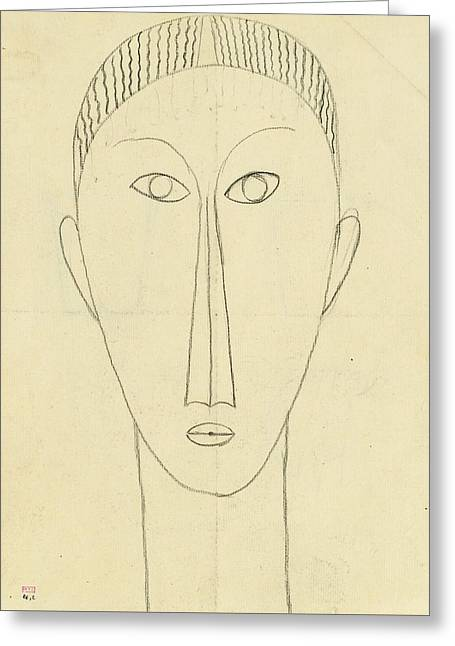 Tete De Face Greeting Card by Amedeo Modigliani