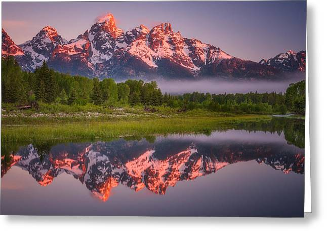 Metal Art Photography Greeting Cards - Teton Awakening  Greeting Card by Darren  White