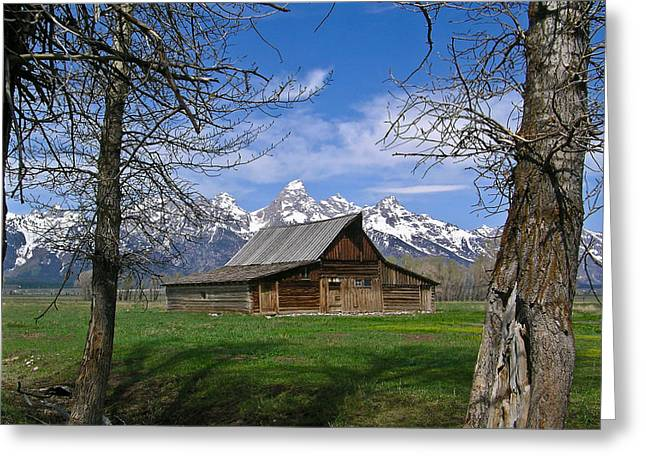 Teton Barn Greeting Card by Douglas Barnett