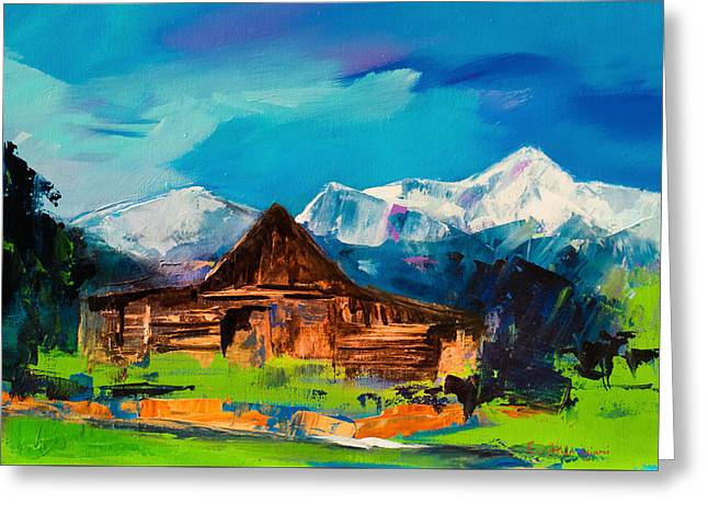 Old Wood Cabin Greeting Cards - Teton Barn  Greeting Card by Elise Palmigiani