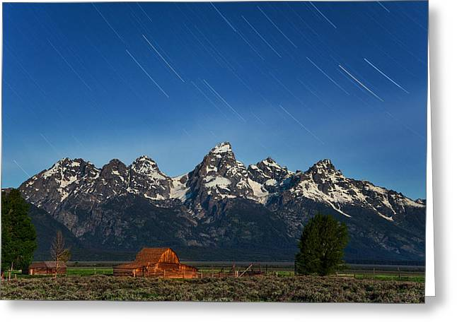 Old Barns Greeting Cards - Teton Star Trails Greeting Card by Darren  White