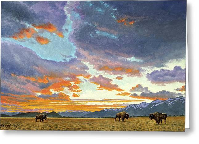 Tetons-looking South At Sunset Greeting Card by Paul Krapf