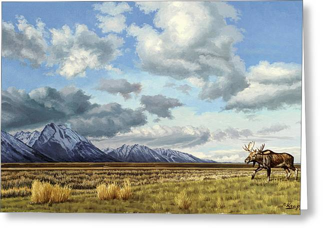 Tetons Greeting Cards - Tetons-Moose Greeting Card by Paul Krapf