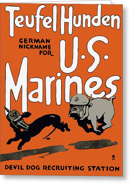 Devil Greeting Cards - Teufel Hunden German Nickname For US Marines Greeting Card by War Is Hell Store