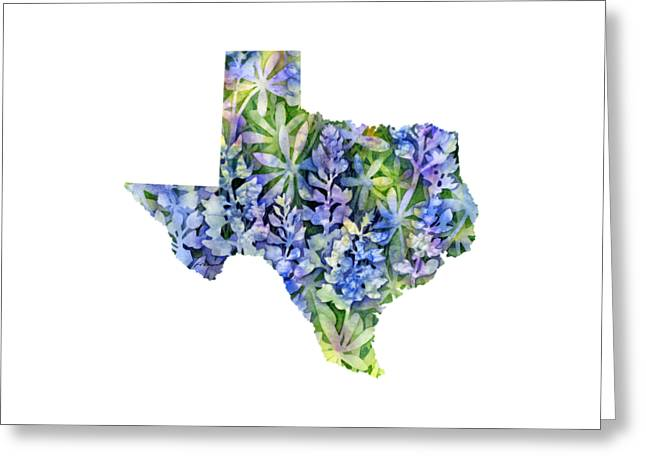 Texas Blue Texas Map On White Greeting Card by Hailey E Herrera