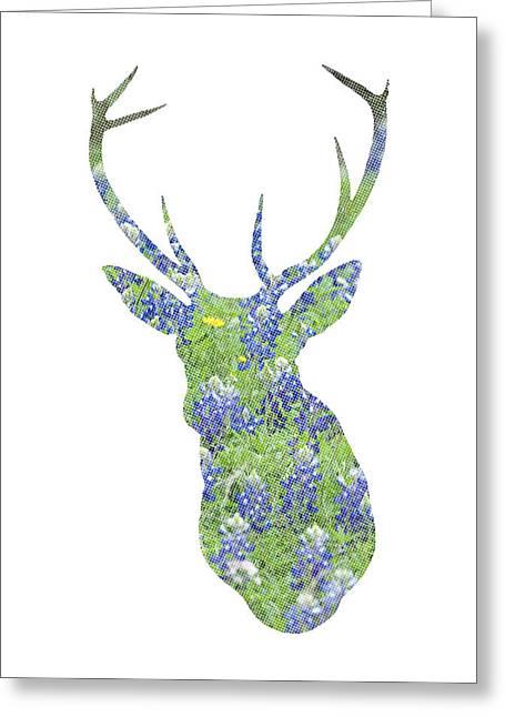 Hunting Cabin Greeting Cards - Texas Bluebonnet Deer Greeting Card by Renee Hong