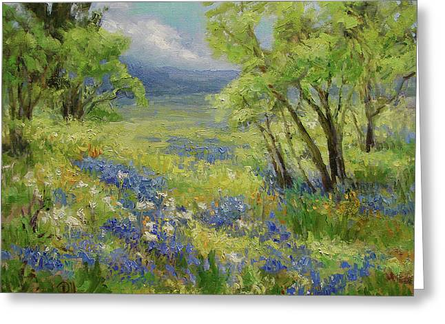 Bluebonnet Scene Greeting Cards - Texas Bluebonnets And Mesquite Greeting Card by Lilli Pell