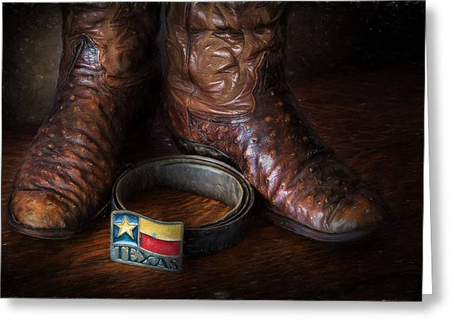 Leather Belt Greeting Cards - Texas Boots and Belt Buckle Greeting Card by David and Carol Kelly