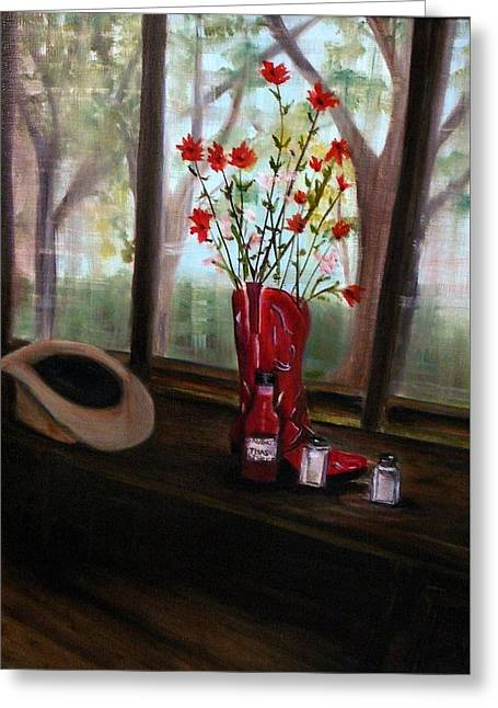 Texas Cafe Greeting Card by Betty Pimm