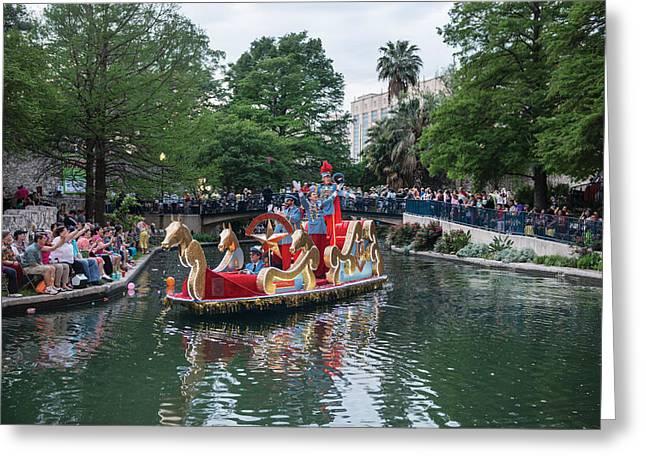 Carrington Greeting Cards - Texas Cavaliers River Parade on the San Antonio River Greeting Card by Carol M Highsmith