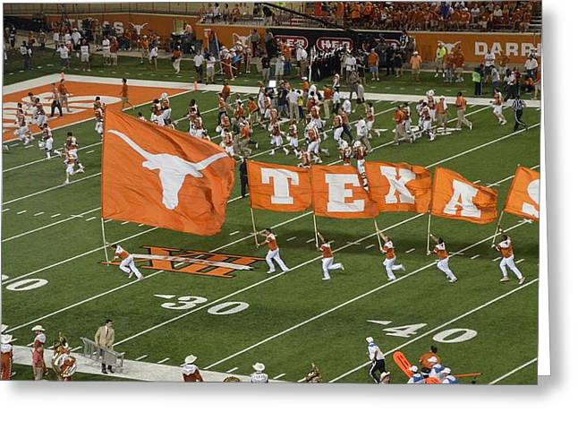 Marching Band Greeting Cards - Texas Flags on Football Field Greeting Card by Luke Pickard