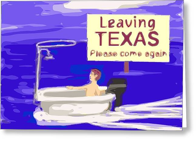 Cartoonist Greeting Cards - Texas Flood Greeting Card by Larry E Lamb