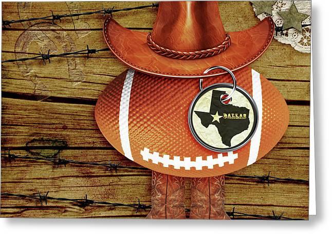 Black Boots Mixed Media Greeting Cards - Texas Football Greeting Card by Paula Ayers