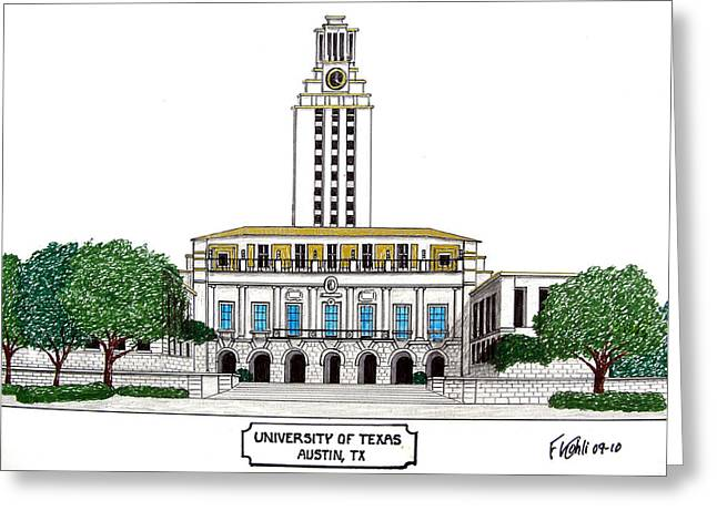 College Campus Buildings Drawings Greeting Cards - Texas Greeting Card by Frederic Kohli