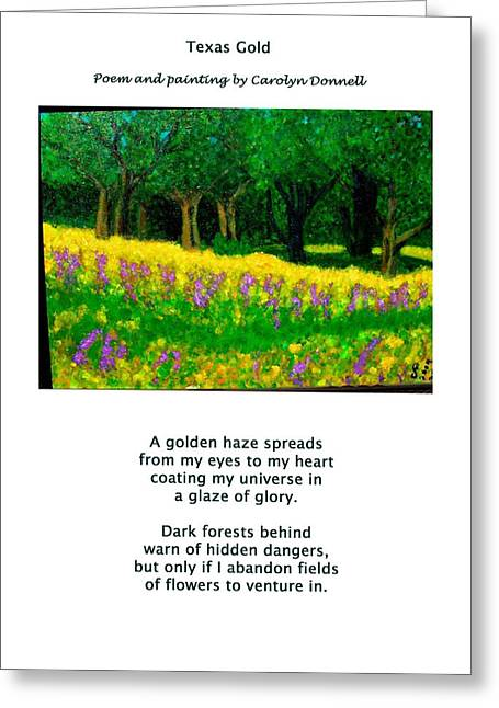 Texas Gold Greeting Card by Carolyn Donnell