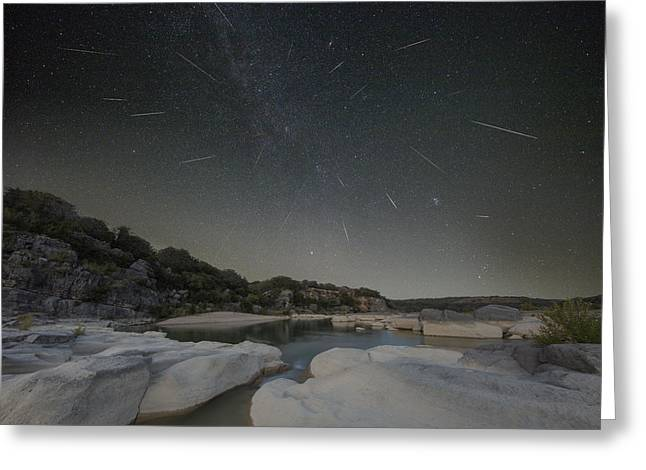 Perseid Meteor Greeting Cards - Texas Hill Country - Perseid Meteor Shower 1 Greeting Card by Rob Greebon