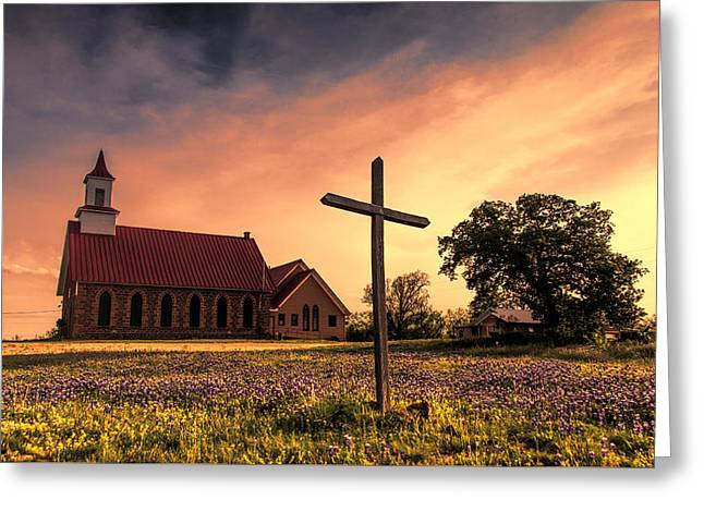 Texas Hill Country Sunset Greeting Card by Stephen Stookey
