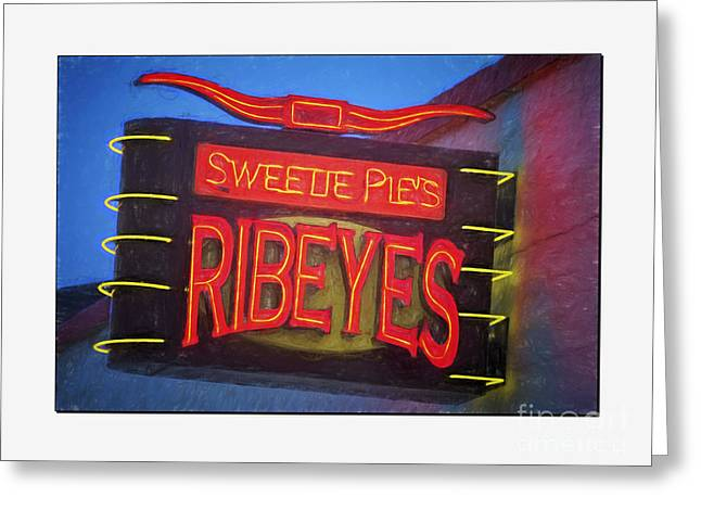 Eating Out Greeting Cards - Texas Impressions Sweetie Pies Ribeyes II Greeting Card by Joan Carroll