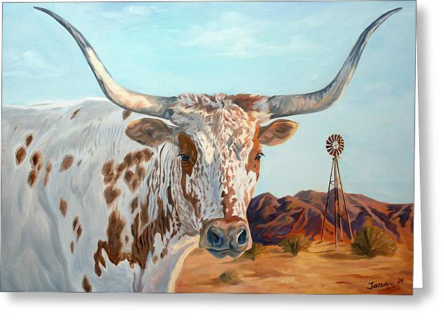Texas Longhorn Cow Greeting Cards - Texas longhorn Greeting Card by Jana Goode