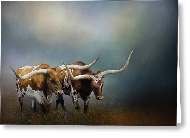 Steer Greeting Cards - Texas Longhorn Pair Greeting Card by David and Carol Kelly