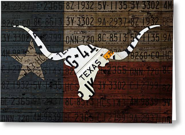 Texas Longhorn Recycled Vintage License Plate Art On Lone Star State Flag Wood Background Greeting Card by Design Turnpike