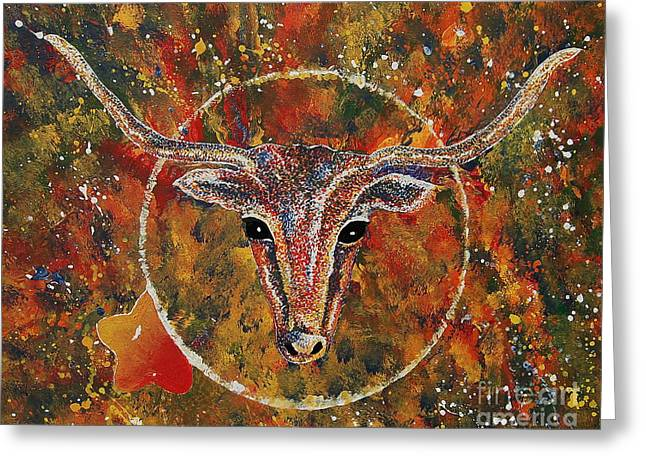 Pallet Knife Greeting Cards - Texas Longhorn Greeting Card by Tamyra Crossley